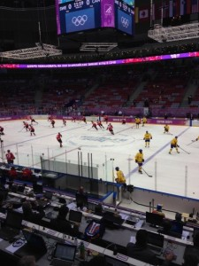 Murph's view for the men's Gold Medal game in Sochi.