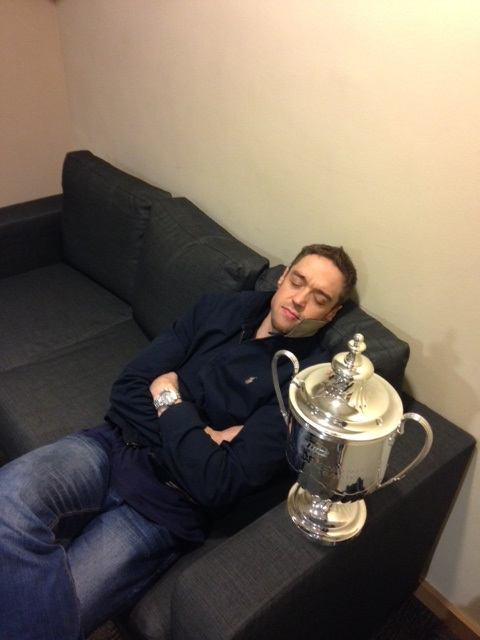 Murph spends some time with the EIHL Play-off Trophy.