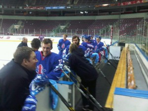 Team GB share a laugh together in Riga, at the Olympic Qualifiers.